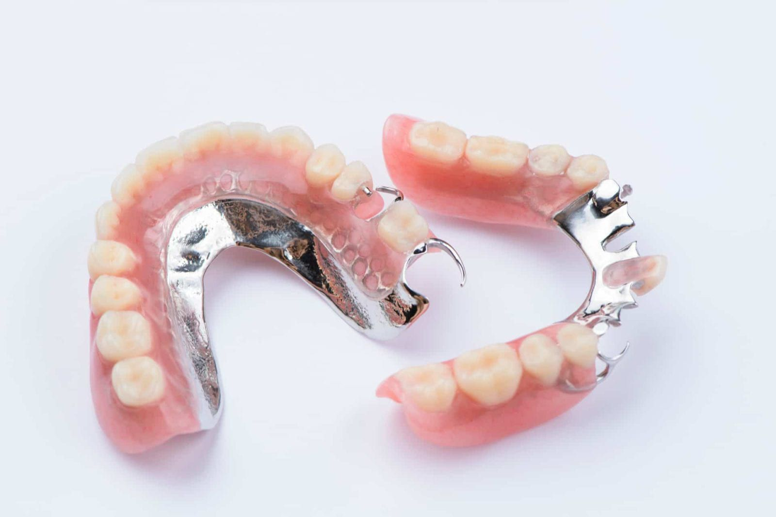 partial denture on isolated background